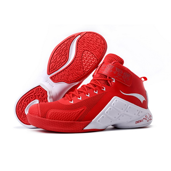 ONEMIX Red/White Braves Comfortable Men's Basketball Shoes