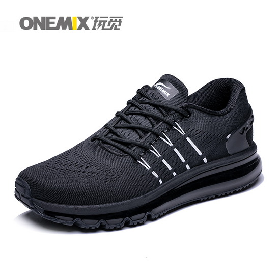 ONEMIX Black Predators Lace Up Running Men's Air Cushion Shoes