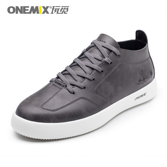 ONEMIX Stalker Gray Soft Leather Comfortable Men's Shoes
