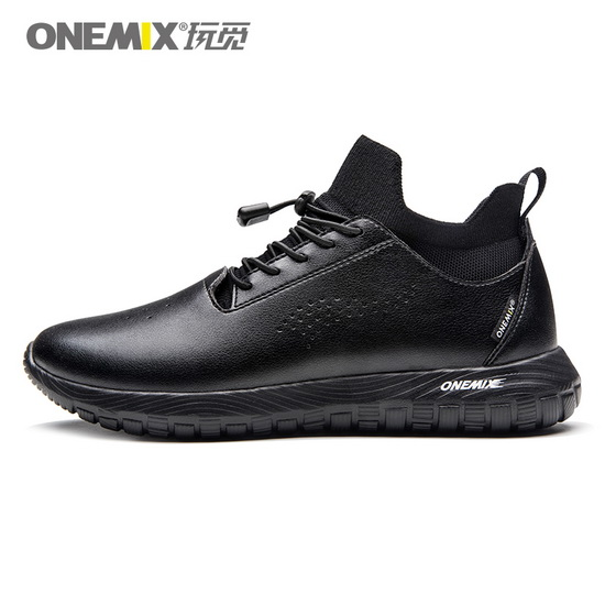 ONEMIX Banshee Black Soft Leather Outdoor Unisex 3in1 Set Shoes