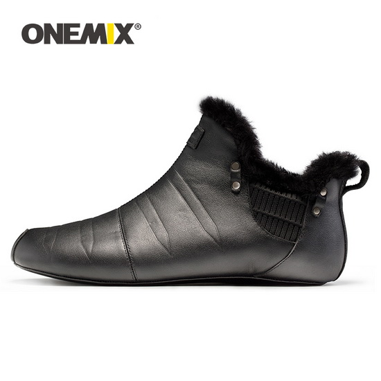 ONEMIX Indoor Black Warm Unique Style Unisex Shoes