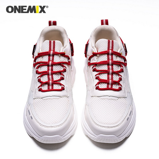 ONEMIX Lacerta Ivory White Lace Up High-tech Women's/Men's Dad Shoes