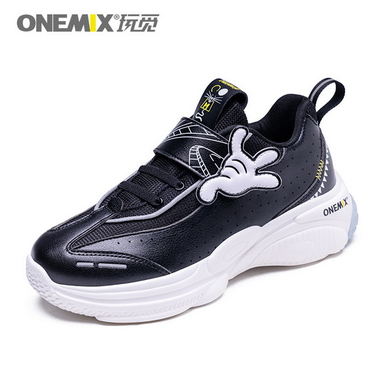 ONEMIX Leo Minor Black/White Lace Up Lightweight Kids Shoes