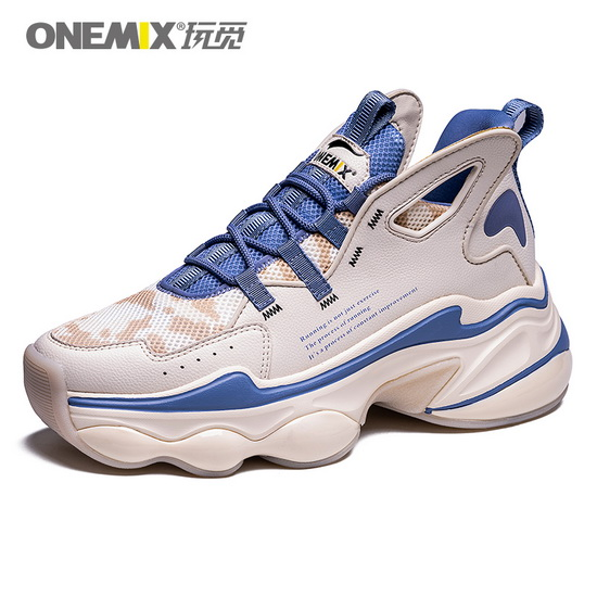ONEMIX Sagittarius White/Blue Outdoor Lace Up Women's Shoes